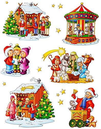 alles-meine.de GmbH 12 TLG. Set _ Fensterbilder -  Weihnachtskrippe / Sternensänger & Kinder  - statisch haftend - selbstklebend + wiederverwendbar / Weihnachten - Sticker Fens..