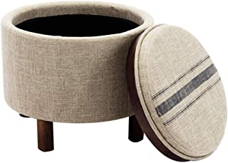 chairus Round Storage Ottoman with Tray, Small Footrest with Blue Striped Lid & Wood Legs, Beige
