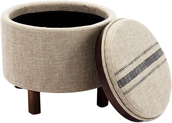 Chairus Round Storage Ottoman With Tray Small Footrest With Blue Striped Lid Wood Legs Beige
