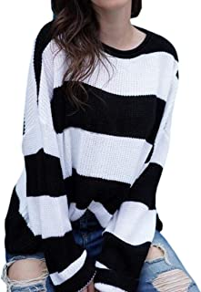 Women Stripe Crew Neck Batwing Sleeve Pullover Sweater Knit Jumper Tops