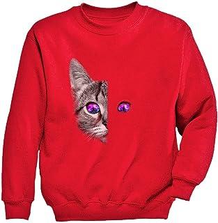Tstars - 神秘な目の猫プリントシャツ クールな目の猫の顔プリントシャツ グットデザイン神秘猫プリントギフト キッズスウェットシャツ