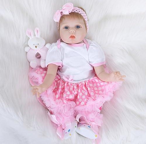 LIJUN Wiedergeburt Puppe Spielzeug Puppe 55 cm Simulation Blaue Augen,A