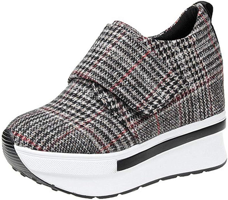 Btrada Woman Platform Wedge Heel Super High Heel Canvas Casual Sneakers Female Hook Loop Plaid Casual shoes