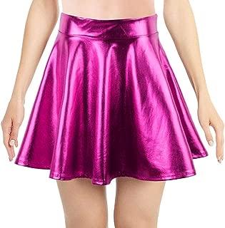 Women's Metallic Ballet Dance Flared Skater Skirt Fancy Dress