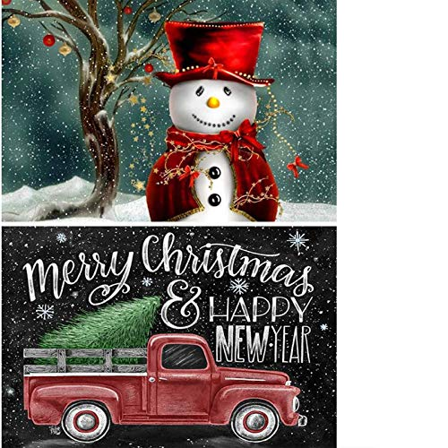 2 Pack 5D Full Drill Christmas Diamond Painting Kit, Mikimiqi DIY Diamond Rhinestone Painting Kits for Adults and Beginner Diamond Arts Craft,15.8 X 11.8 Inch (Christmas Snowman Car Diamond Painting)