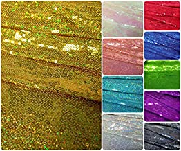 3mm Micro Mini Holographic Sequins on Stretch Polyester Spandex Jersey Fabric (Gold/Yellow)