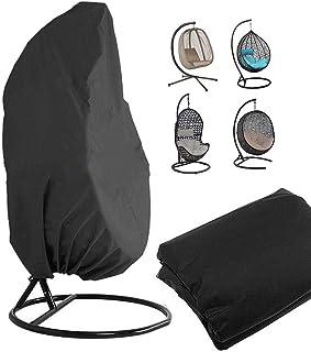 Funda de sillón colgante, soporte de silla giratoria para huevos de ratán exterior cubre el protector de muebles de jardín – 190 x 115 cm (negro)