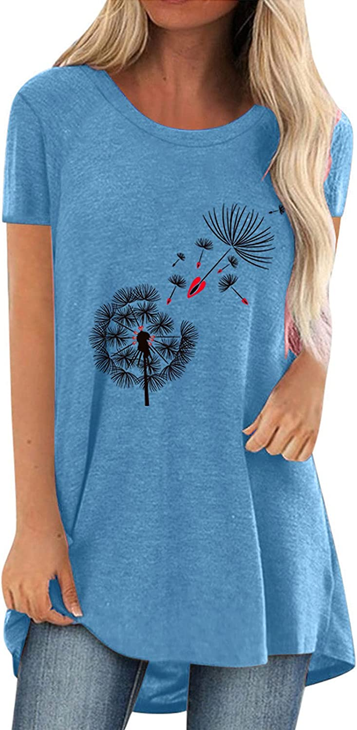 Women Summer Tops Women's Fashion Trend Printed Round Neck Short Sleeve Casual Tops