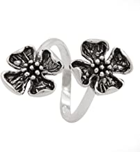 925 Sterling Silver Double Dogwood Flower Ring - Open Band (Sizes 5 - 12)