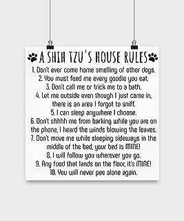 Captivating Life Funny Shih Tzu Poster – A Shih Tzu's House Rules for Dog Lover, Shih-Tzu Mom, Shih Poo Dad Dog Meme (4