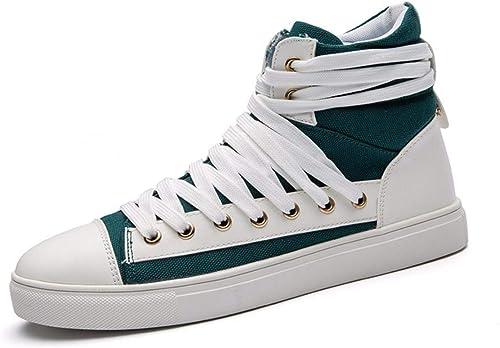 KMJBS-Men Lacets de Chaussures de Chaussures Haute Toile pour Les Jeunes Personnes Vert Forty-One