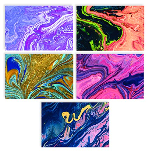 100-Pack All Occasion Greeting Cards, Assorted Blank Note Cards, 4 x 6 inch, 5 Abstract Art Designs, Blank Inside, by Better Office Products, with Envelopes, 100 Pack