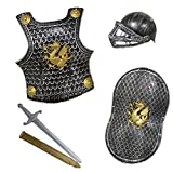 Childs Knight Armor Gladiator Soldier 4 Pc Costume Set (Black, Silver & Gold)
