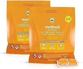 Method Laundry Detergent Packs, Ginger Mango, 24.7 Ounce (Pack of 2)