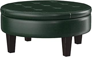 Round Upholstered Storage Ottoman with Tufted Top Dark Brown