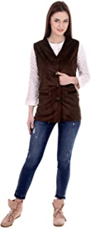 bb68f24087 ShopyBucket Women's Sleeveless Pocket Button Velvet Jacket (Made in India)  (Size ...