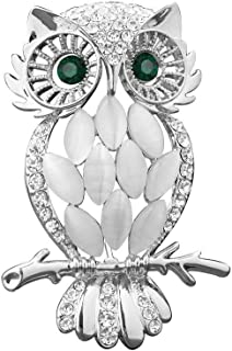 LuckyJewelry Vintage Crystal Rhinestone Perched Cute Green Eyed Owl Brooch and Pin for Sale