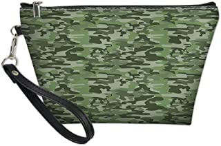 Women Travel Makeup Bags,Abstract Pattern in Green Shades Camouflage Classical Uniform Illustration,Cosmetic Case Pouch Holder small Capacity
