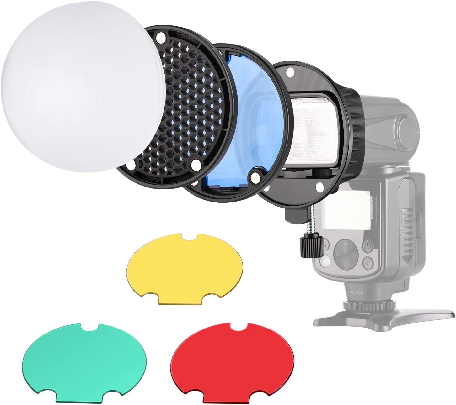 Neewer New product!! Max 66% OFF Camera Flash Filter+Honeycomb Kit:Bracket+Color Head