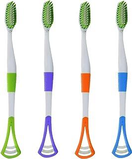 ゴシレ Gosear 4ピース盛り合わせカラー多機能ソフト剛毛歯ブラシ作り付け舌クリーナー用男性女性大人ホーム旅行キャンプ日常使用