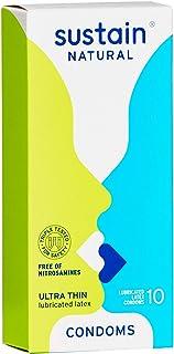 Sustain Natural Latex Condoms - Ultra Thin - FDA Cleared - Nitrosamine Free - Non GMO - Fair Trade - 10 Count…