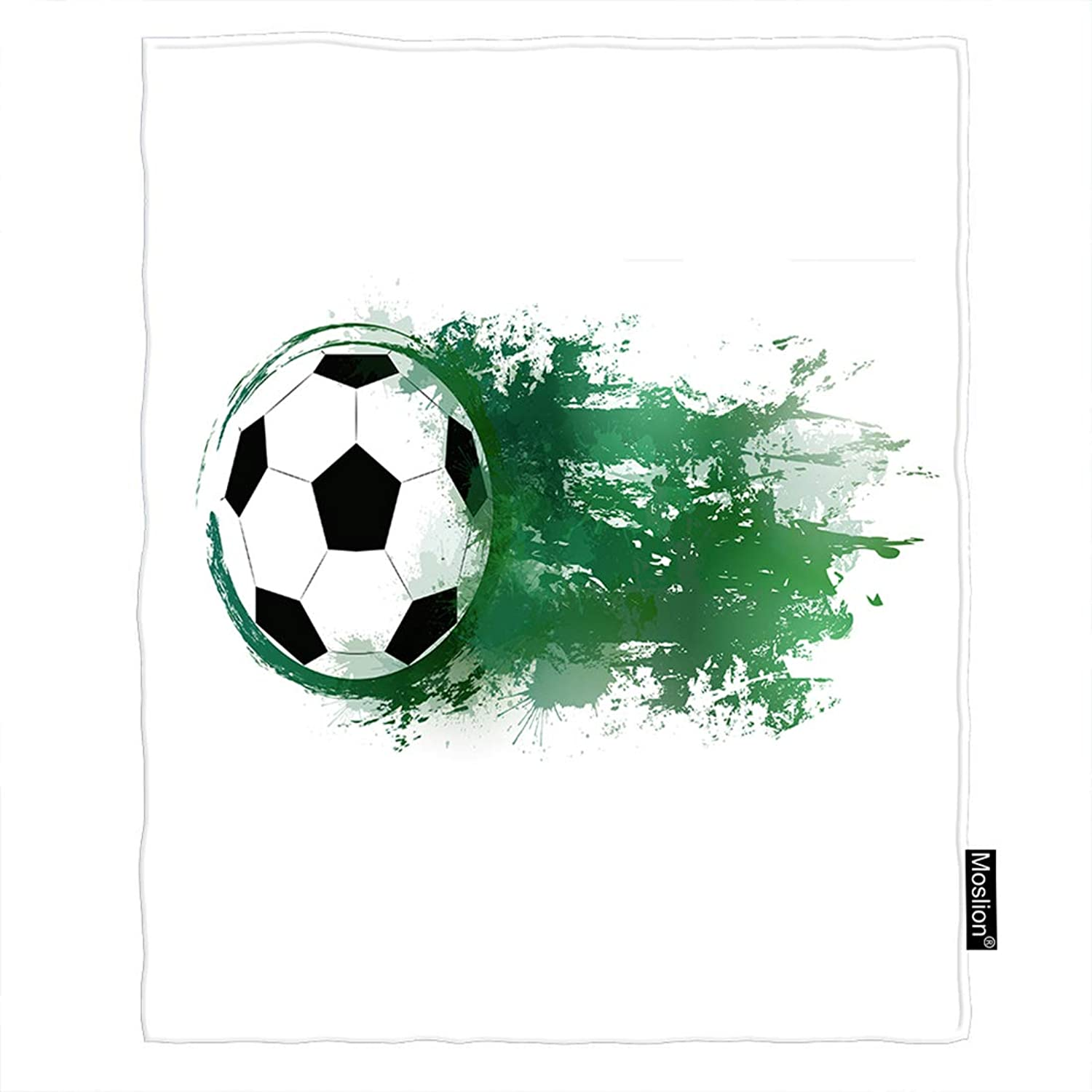Moslion Football Blanket Sport Soccer Ball with Watercolor bluee Splashes Throw Blanket Flannel Home Decorative Soft Cozy Blankets 60x80 Inch for Adults Kids Sofa Black White