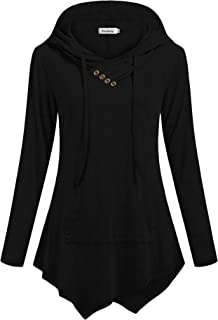 Ninedaily Womens Sweatshirt Pullover Hoodies Tunic Long Sleeve V Neck Pocket Top