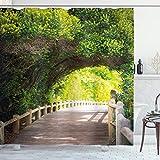 ABAKUHAUS Bosque Cortina de Baño, Naturaleza Boardwalk Arco, Material...