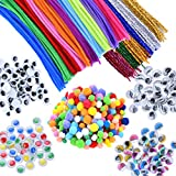 EpiqueOne 750pc. Kids Art & Craft Supplies Assortment Set for School Projects, Decoration, and DIY Hobby, Chenille Pipe Cleaner Stems, Pom Poms, Colored Googly Eyes w Lashes