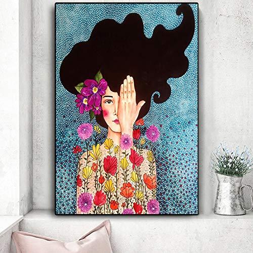 ganlanshu Figura De Moda Belleza Mujer Arte de Pared Pintura de Lienzo para Carteles e Impresiones Imágenes Obra de Arte Decoración de Arte de Pared para Sala de Estar,60x90cm/Pintura sin Marco