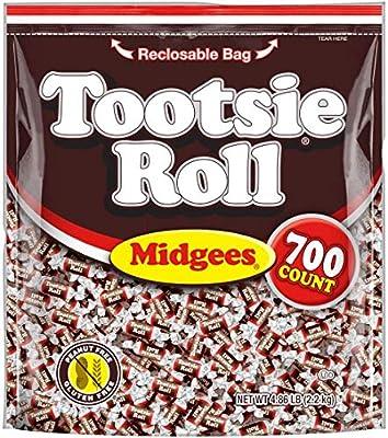 Tootsie Roll Original Chocolatey Twist Midgees, Resealable Stand-up Bag, 2500 Count Total, Peanut Free, Gluten Free