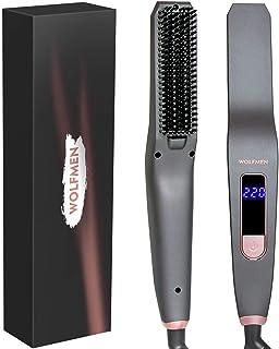 Wolfmen Piastra per Capelli barba, Pettine Barba Capelli ,Piastra per barba,a Ioni, con 6 impostazioni di Temperatura, Display LED e Sistema anti-scottatura.