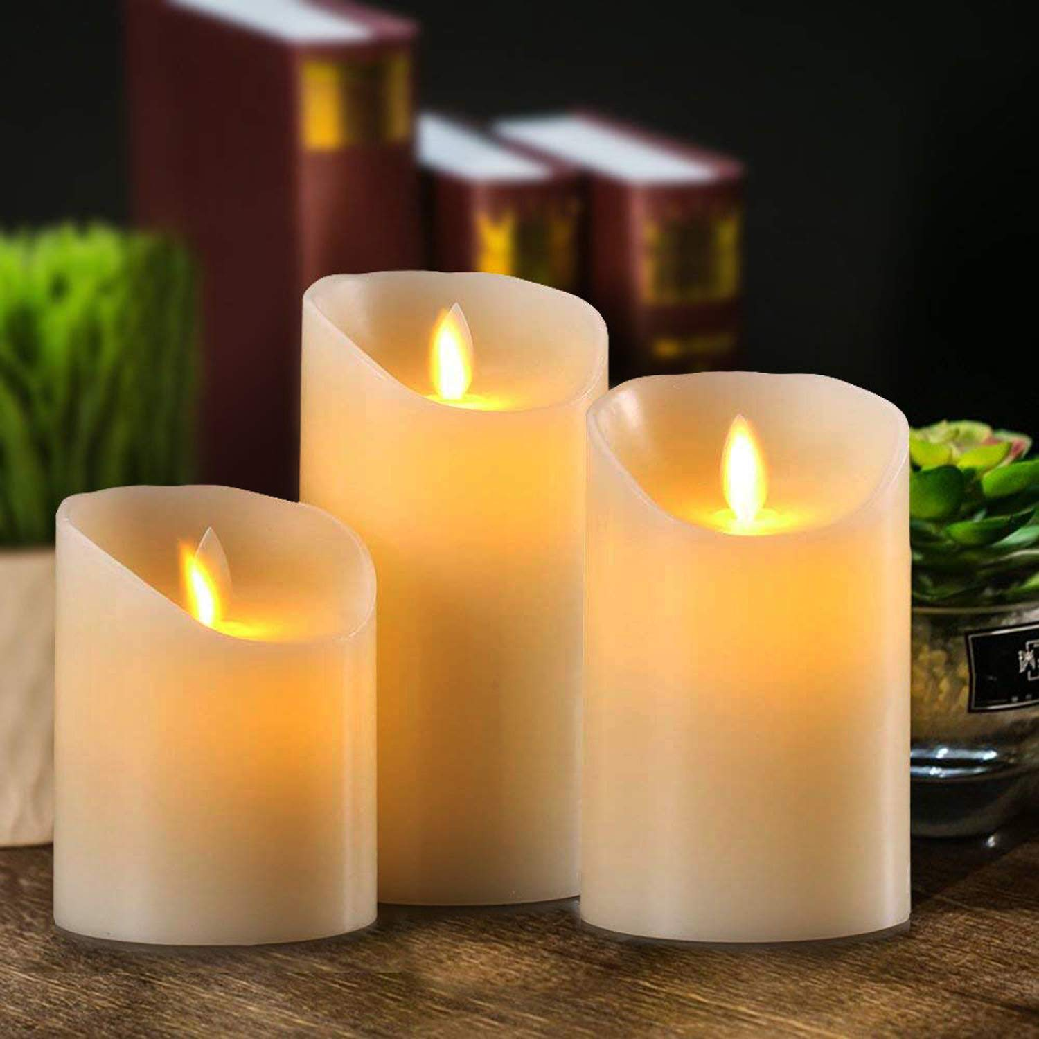 ShengLong Flickering Flameless Candles,Led light Candle with,Set of 3 Ivory Wax Flickering Amber Yellow Flame Xmas Table Dress wax Candle. Auto-Off Timer Remote Control Fake Battery Operated Candles