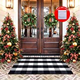 All Prime Buffalo Plaid Rug - Extra Large 28' x 43' Pure Black and White Rug for Indoor & Outdoor - Buffalo Check Rug for Kitchen, Bathroom, Porch Decor- Buffalo Plaid Front Door Mat with Laundry Bag