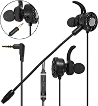 3.5mm Gaming Earbuds with Mic, Insten in-Ear Headset Stereo Headphone with Dual Microphone [Detachable and Built-in] Compatible with PS4 Xbox One Nintendo Switch Lite PC Mobile Game Cell Phone Black