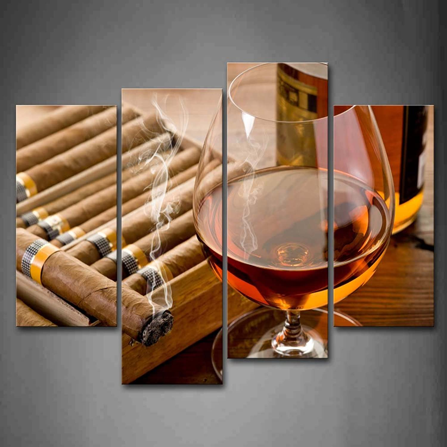 Brown Liquor In Cup With Cigar Wall Art Painting Pictures Print On Canvas Food The Picture For Home Modern Decoration