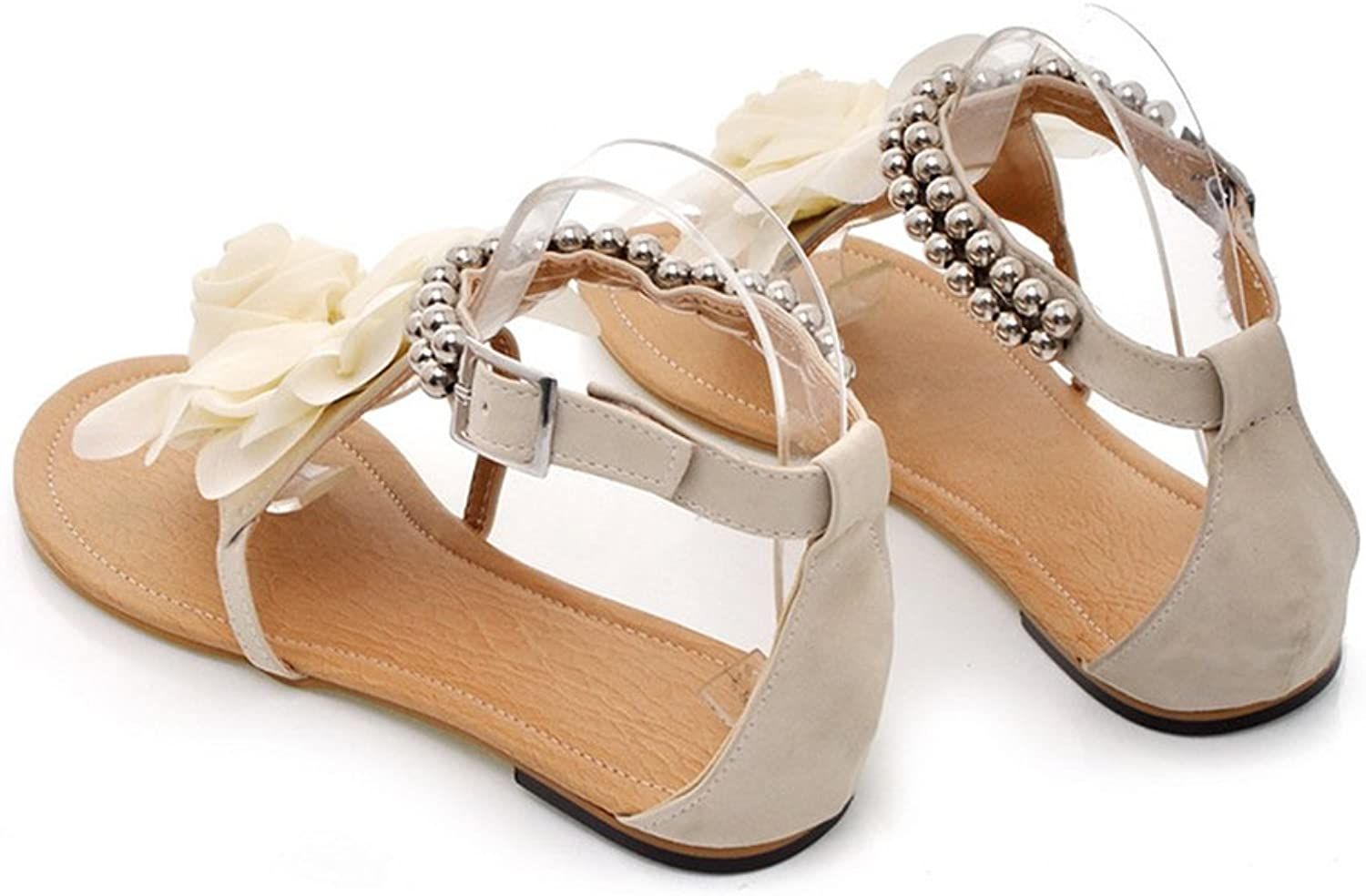 Flat Heel Flower Sandals Various Size Women shoes beige