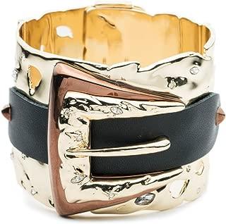 Alexis Bittar Large Hinge Bracelet Buckle Cuff Bracelet W/Leather Detail & Swarovski Crystal Accent