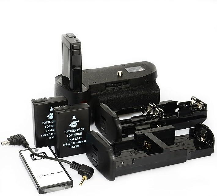 DSTE Remoto Vertical Batería Apretón Titular para Nikon D5100 D5200 DSLR Cámara Fotográfica con 2-pack EN-EL14