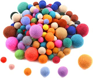 Sntieecr 150 Pieces 4 Sizes Wool Felt Balls Handmade Felted Pom Poms Pure Wool Beads Felt Ball for Craft Making (10mm, 15mm, 20mm, 25mm, Mixed Color)