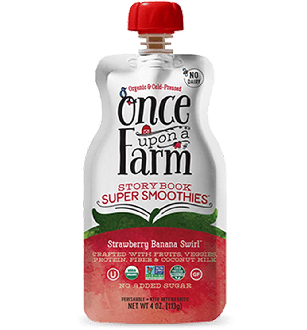 Once Upon a Farm USDA Organic Story Book Super Smoothies, Strawberry Banana Swirl, 4 Ounce (Pack of 8)