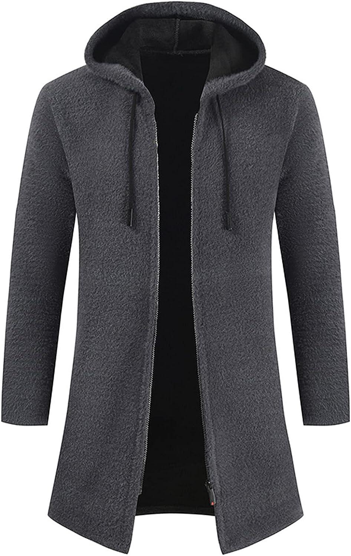 Huangse Men's Wool Blend Long Trench Coat Lengthen Jacket Coat for Men Solid Color Hooded Long Sleeve Zip Up Warm Overcoat