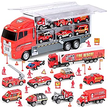 BeebeeRun Fire Truck Set Die-Cast 31 in 1 Carrier Truck Rescue Emergency Fire with Traffic Warning Sign Mini Plastic Firefighter for Boys 3+ Years Old
