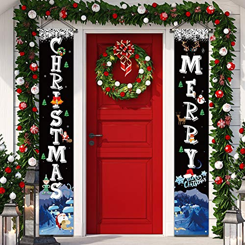 "YUFOL Christmas Decorations for Home Merry Christmas Banner,Hanging Christmas Door Decorations Decor Porch Sign for Front Door Welcome Christmas Banners Xmas Decor Flags-Large Size 12""×71"" (Black)"