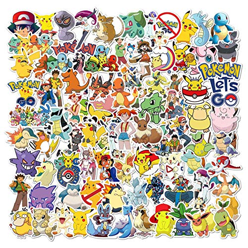 Pokémon Pegatinas (100 piezas), Paquete de Pegatinas, bonitas pegatinas de Pikachu para niños, pegatinas impermeables para patinetas, portátiles, coches, motocicletas, bicicletas y maletas