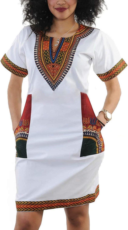 Women Bohemian V Neck African Printed Ethnic Style Summer Bodycon Shift Dress