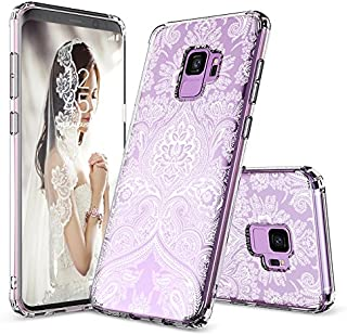Galaxy S9 Case, Galaxy S9 Cover, MOSNOVO Damask Henna Mandala Lace Pattern Clear Design Transparent Plastic Hard Back Case with TPU Bumper Protective Case Cover for Samsung Galaxy S9 (2018)