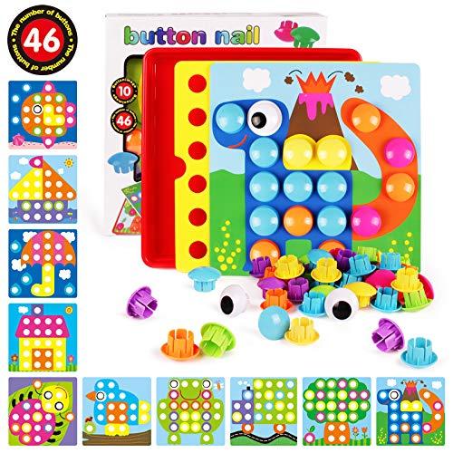 AMOSTING 3D-Puzzles für Kinder kreative Geschenke Peg Puzzle Tasten Kunst Pilz Nagel Mosaik DIY Puzzle Kunststoff Bausteine Pegging Board Baby früh Lernen Spielzeug Kleinkind pädagogisches Geschenk