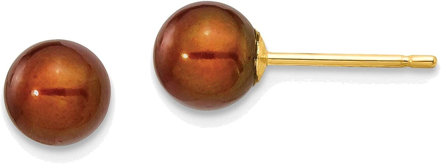 5-6mm Coffee Round Freshwater Cultured Pearl Stud Post Earrings in 14K Yellow Gold