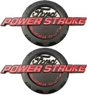 2pcs Black Red Power Stroke International Diesel Side Fender Emblems 3D Logo 6.0L 6.7L 7.3L Powerstroke Badge Replacement for F150 F250 F350